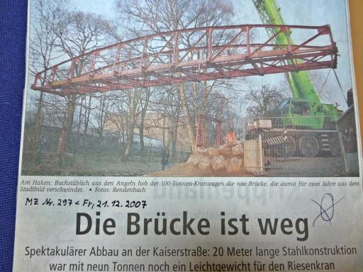 Abbau der Schmöle-Brücke; 20.12.07