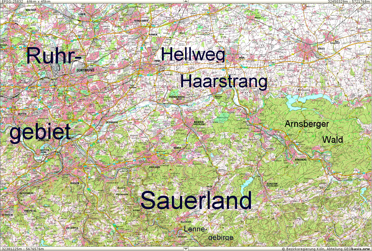 Topographische Karte Nrw.Geotopo Menden Sauerland Stadt Und Landschaft