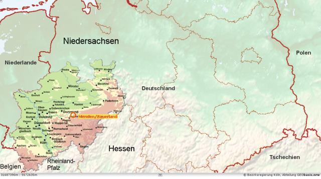 Nordrhein-Westfalen mit Menden im nördlichen Mitteleuropa
