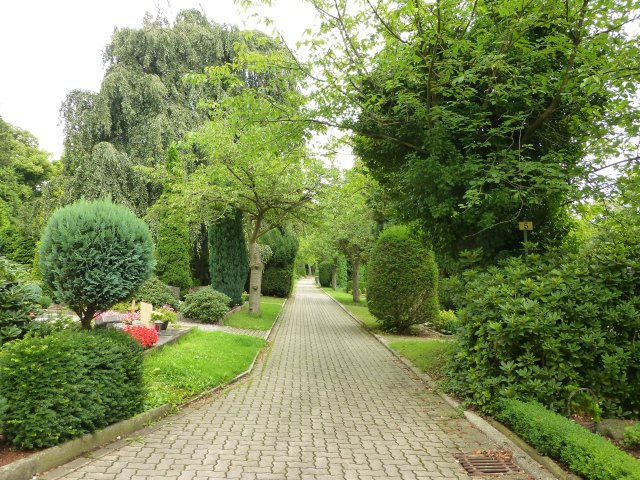 Hauptweg Kath. Friedhof, unterer Teil, Blick nach oben
