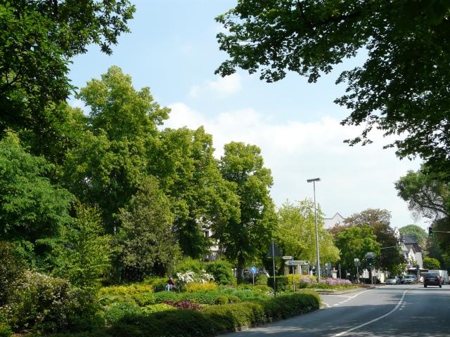 oberste Bodelschwinghstr. mit Park Heilig-Geist-Kirche, Blumendreieck und unterer Walramstr.