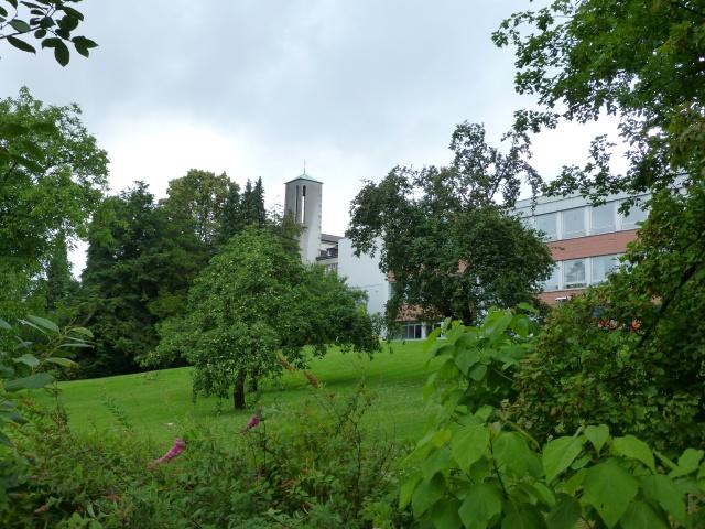 Park des Walburgisgymnasiums von Süd